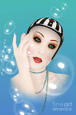 Caricature Portraits Digital Art - Soap Bubble Woman  by Mark Ashkenazi