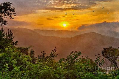 Abstract Digital Art Mixed Media - Soaring At Sunrise - Blue Ridge Parkway II by Dan Carmichael