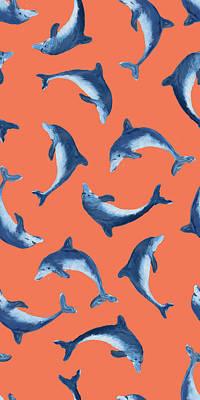 Dolphin Digital Art - Soaring Dolphin Pattern by Julie Derice