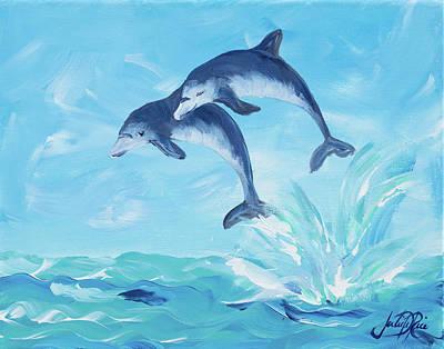 Dolphins Digital Art - Soaring Dolphins I by Julie Derice