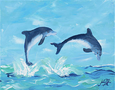Dolphin Digital Art - Soaring Dolphins II by Julie Derice