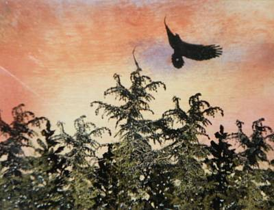 Woodlands Scene Mixed Media - Soaring Eagle In The Adirondack Mountains by Melissa Aiken
