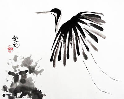 Egret Painting - Soaring High by Oiyee At Oystudio