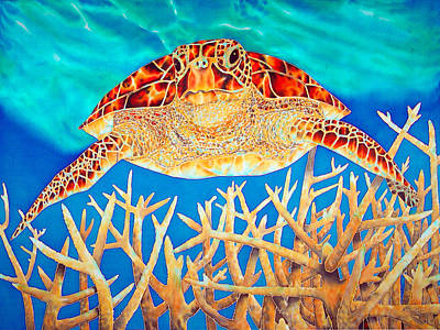 Silk Painting - Sea  Turtle Soaring Over Staghorn by Daniel Jean-Baptiste