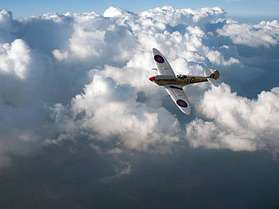 Photograph - Soaring Silver Spitfire Cloudscape by Gary Eason