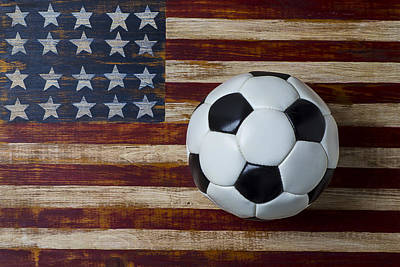 Soccer Ball And Stars And Stripes Art Print by Garry Gay