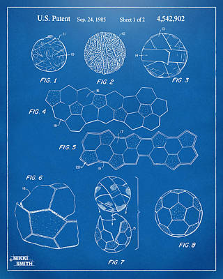 Soccer Ball Construction Artwork - Blueprint Art Print by Nikki Marie Smith