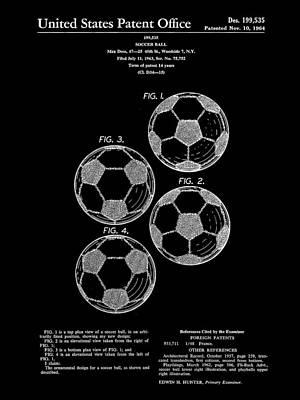 Goalkeeper Digital Art - Soccer Ball Patent 1964 - Black by Stephen Younts