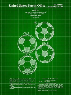 Goalkeeper Digital Art - Soccer Ball Patent 1964 - Green by Stephen Younts
