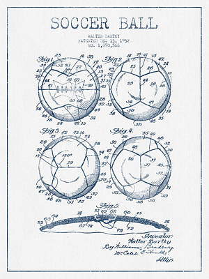 Soccer Ball Patent Drawing From 1932 - Blue Ink Art Print by Aged Pixel