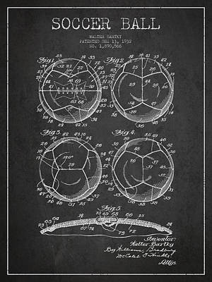 Technical Drawing Digital Art - Soccer Ball Patent Drawing From 1932 - Dark by Aged Pixel