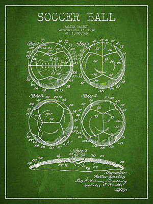 Sports Royalty-Free and Rights-Managed Images - Soccer Ball Patent Drawing from 1932 - Green by Aged Pixel