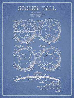 Soccer Digital Art - Soccer Ball Patent Drawing From 1932 - Light Blue by Aged Pixel
