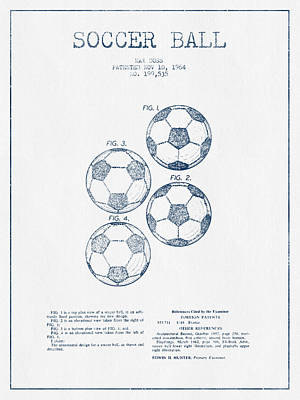 Football Royalty-Free and Rights-Managed Images - Soccer Ball Patent Drawing from 1964  - Blue Ink by Aged Pixel
