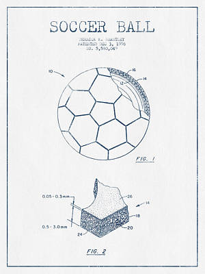 Football Royalty-Free and Rights-Managed Images - Soccer Ball Patent Drawing from 1996 - Blue Ink by Aged Pixel