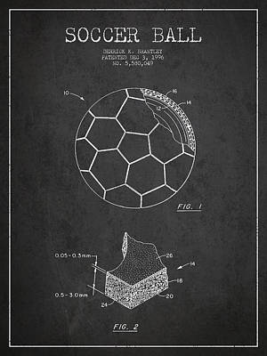 Football Royalty-Free and Rights-Managed Images - Soccer Ball Patent Drawing from 1996 - Dark by Aged Pixel