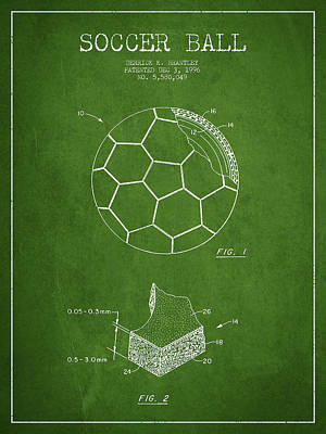 Football Royalty-Free and Rights-Managed Images - Soccer Ball Patent Drawing from 1996 - Green by Aged Pixel