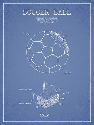 Football Royalty-Free and Rights-Managed Images - Soccer Ball Patent Drawing from 1996 - Light Blue by Aged Pixel