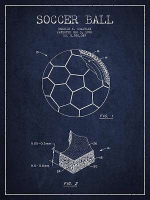 Soccer Ball Patent Drawing From 1996 - Navy Blue Art Print