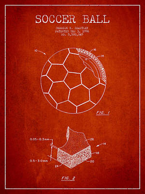 Football Royalty-Free and Rights-Managed Images - Soccer Ball Patent Drawing from 1996 - Red by Aged Pixel