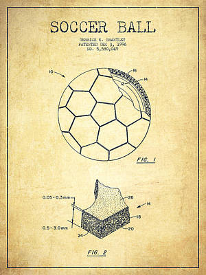Football Royalty-Free and Rights-Managed Images - Soccer Ball Patent Drawing from 1996 - Vintage by Aged Pixel