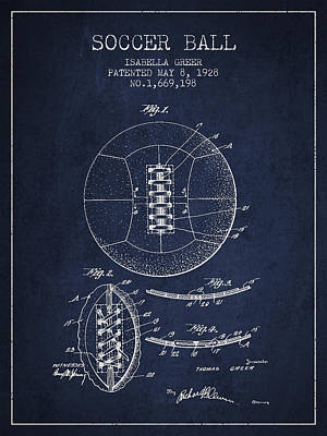 Technical Digital Art - Soccer Ball Patent From 1928 by Aged Pixel