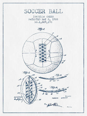 Sports Royalty-Free and Rights-Managed Images - Soccer Ball Patent from 1928 - Blue Ink by Aged Pixel