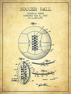 Ball Digital Art - Soccer Ball Patent From 1928 - Vintage by Aged Pixel