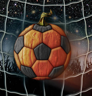 Digital Art - Soccer Ball Pumpkin by James Larkin