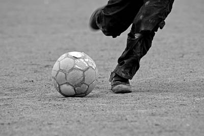 Soccer - Boy Is Kicking A Football - Black And White Art Print