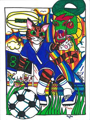 Soccer Cat Art Print by Artists With Autism Inc