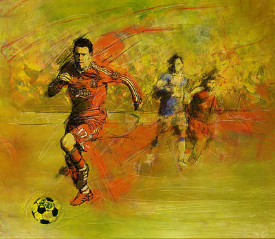Canadian Sports Painting - Soccer  by Corporate Art Task Force
