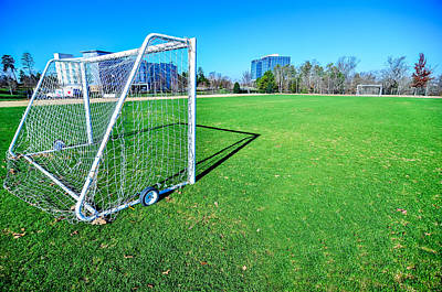 Charlotte Framed Photograph - soccer field on a sunny day in a Public Park by Alex Grichenko