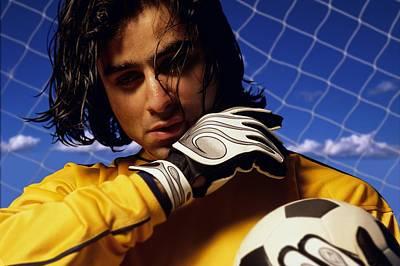 Goalkeeper Photograph - Soccer Goalkeeper In Net by Don Hammond