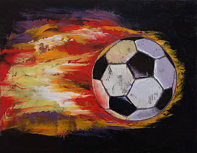Soccer Art Print by Michael Creese