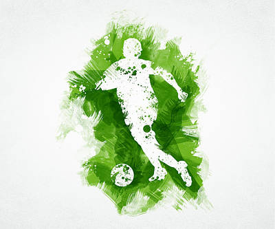 Kick Digital Art - Soccer Player by Aged Pixel