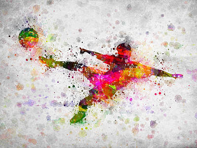 Best Sellers - Sports Royalty-Free and Rights-Managed Images - Soccer Player - Flying Kick by Aged Pixel