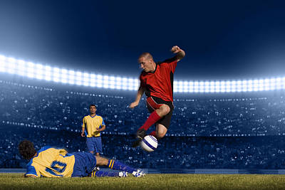 Soccer Player Jumping With Ball Art Print by Kycstudio