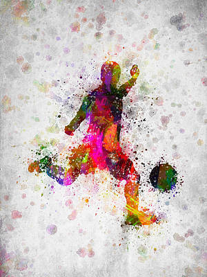 Soccer Game Digital Art - Soccer Player - Kicking Ball by Aged Pixel