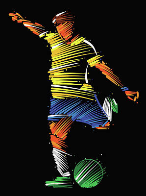 Digital Art - Soccer Player Running To Kick The Ball by Dimitrius Ramos