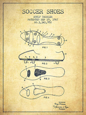 Shoes Digital Art - Soccer Shoe Patent From 1967 - Vintage by Aged Pixel