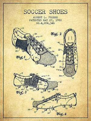 Football Royalty-Free and Rights-Managed Images - Soccer Shoe Patent from 1980 - Vintage by Aged Pixel
