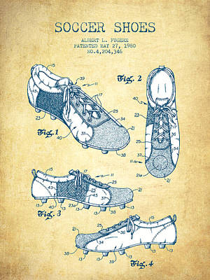 Football Royalty-Free and Rights-Managed Images - Soccer Shoe Patent from 1980 - Vintage Paper by Aged Pixel