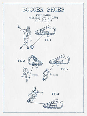 Soccer Shoes Patent From 1993  - Blue Ink Art Print