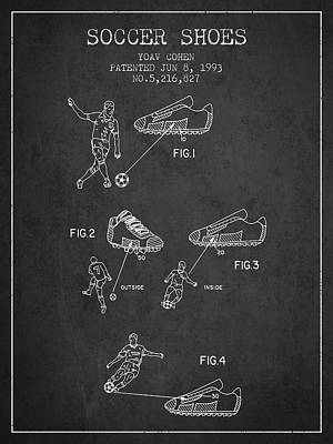 Shoe Digital Art - Soccer Shoes Patent From 1993 - Dark by Aged Pixel