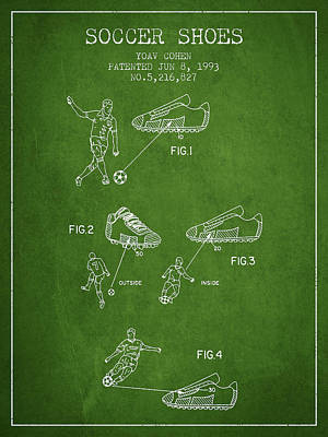 Soccer Shoes Patent From 1993 - Green Art Print