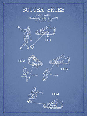 Shoe Digital Art - Soccer Shoes Patent From 1993 - Light Blue by Aged Pixel