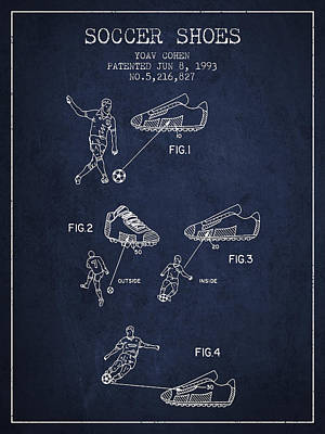 Shoe Digital Art - Soccer Shoes Patent From 1993 - Navy Blue by Aged Pixel