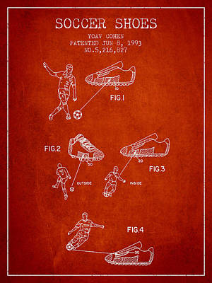Soccer Shoes Patent From 1993 - Red Art Print