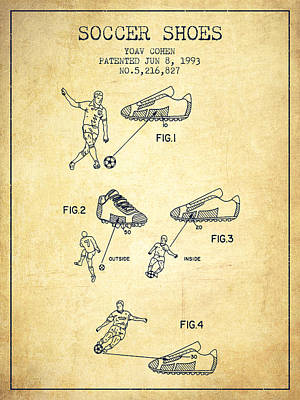 Shoe Digital Art - Soccer Shoes Patent From 1993 - Vintage by Aged Pixel